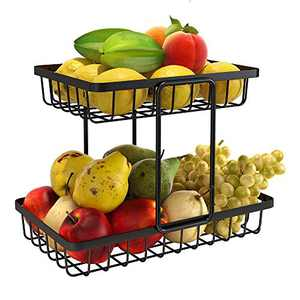 2-Tier Fruit Basket, KINGBERWI Metal Fruit Bowl Bread Basket Stand Kitchen Countertop Vegetables Storage Holder, Black