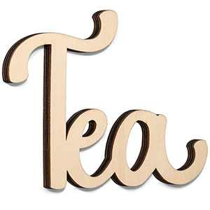 """Way Of Hearts Wooden Tea Sign for Wall, Farmhouse Kitchen Wall Decor, Rustic Vintage Decorations, Laser Cut Out Word, DIY, Natural Plywood Script, 7.4"""" X 4.9"""""""