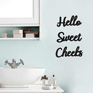 Hello Sweet Cheeks Bathroom Sign Funny Bathroom Wall Art Decor Rustic Home Farmhouse Bathroom Decor