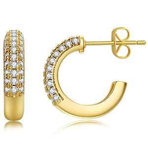 Unique Corn Chunky Mini Hoop Earrings, Small Gold Hoop Earrings for Women Girls, Lightweight 2mm Thick Gold Hoops 14K Gold Plated Cubic Zirconia Open Hoop Earrings (Gold, 8)