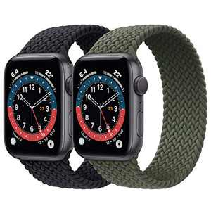 2 Pack Braided Solo Loop Sport Bands Compatible for Apple Watch Band 38mm 40mm 42mm 44mm Soft Stretchy Wristband Women Men Elastic Strap Compatible for iWatch Series 6/SE/5/4/3/2/1, 42mm/44mm Medium
