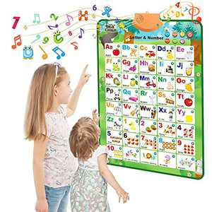 CUTE STONE Electronic Interactive Alphabet Wall Chart, Talking ABC & 123s & Music Poster, Best Educational Toy for Toddler. Kids Fun Learning at Daycare, Preschool, Kindergarten for Boys & Girls