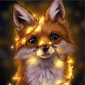 Animal Diamond Painting Kits for Adults, 5D Crystal Diamonds Art with Accessories Tools, Baby Fox DIY Art Dotz Craft for Home Décor, Ideal Gift or Self Painting