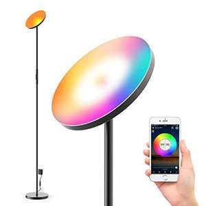 Mezone Smart LED Floor Lamp, Compatible with Alexa Google Home,2000LM Super Bright,WiFi Torchiere Floor Lamp,Dimmable Color Changing Modern Standing Lamp for Living Bedroom Office