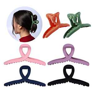 6Pcs Hair Claw Clips, Non-slip Big Matte Hair Clips for Women Girls, Large Jaw Clamp Clips for Thin Thick Hair, Strong Hold Clip Claw Clamp, Hair Styling Accessory
