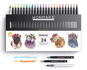 WONMAKE Pre-Toned Watercolor Paint Set for Kids, Washable Paint Brush Markers, Arts and Crafts Supplies for Kids, Used in Coloring | Drawing | Journal (24-color)