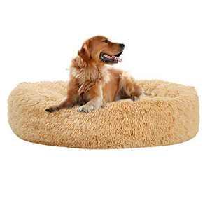 Aiwendish Calming Dog Bed Donut Cat Bed, Faux Fur Self-Warming Pet Cuddler Bed, Comfortable Round Plush Dog Beds - Large, Taupe