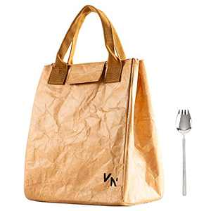 VonNova Tyvek Lunch Bag Insulated Large Lunch Tote Bag Reusable Thermal Food Container Durable and Leakproof Snack Bags Lunch Bags for Women Men Adults College Work Picnic Hiking ,brown