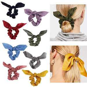 Bow Scrunchies Big Hair Ties - 8 Pcs Silk Spiral Elastics Soft Curly Hair Ties Hair Elastics Ties For Blonde Women Thick Hair Kids Girls (B10)