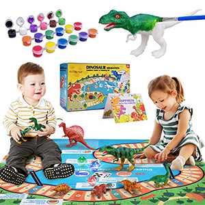Dinosaur Toys, Kids Dinosaur Toys - 3 Different Ways to Play, Dinosaur Play Mat, Dinosaur Painting Kit, Dinosaur Toys for Kids 3 4 5 6 7 8 9 10 Years Old