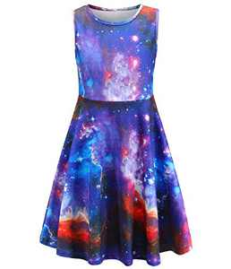 Fiream Summer Dresses for Girls, Sleeveless Casual Party Sun Dress, Galaxy Dress, Purple Clothes for Kids, 4-13 Years (SS504,6-7 Years)