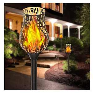 """Evelynsun Solar Lights Metal Tulip Torches with Flickering Flame 36"""" Outdoor Solar Landscape Decoration 42 LED Waterproof Lighting Auto On/Off for Garden, Patio (Tulip Brown)"""