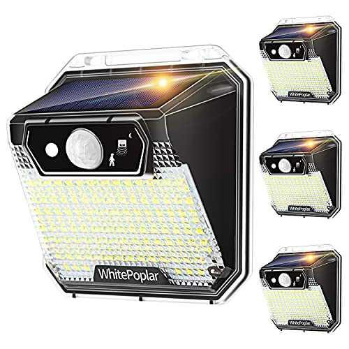 Solar Powered Outdoor Lights, WhitePoplar 148 LEDs Solar Lights Outdoor Motion Sensor Waterproof Solar Security Lights for Backyard Fence Yard Patio 3 Modes(4 Pack)