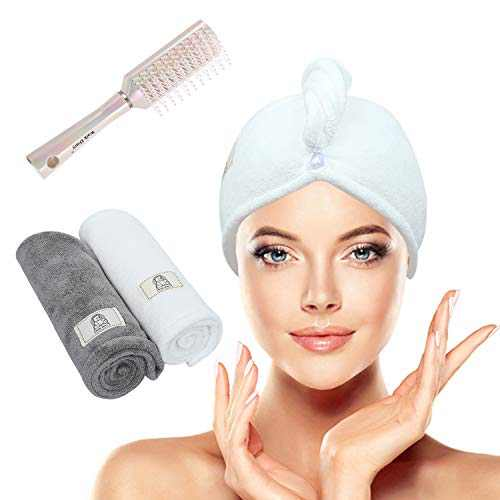 Walk Diary Microfiber Hair Towel Wrap with Hair Straightening Brush for Women Men and Kids 3 Pack