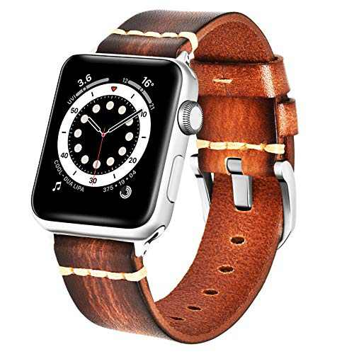 BEAFIRY Compatible with Apple Watch Band 42mm 44mm, Brush off Leather Watch Strap Compatible with IWATCH Series 6/5/4/3/2/1 SE Light Brown Silver Buckle