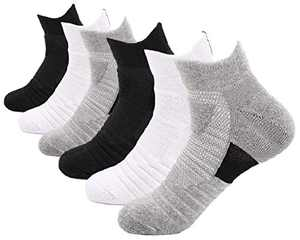 Macochoi Womens Low Cut Ankle Socks Athletic Gym Sports No Slip Comfy Socks Running Breathable Performance Cushioned sole Black White Grey No Show Socks Outdoor Walking Fitness Heel Tab 6 Pack Socks C