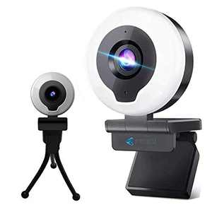 2K 1080P Webcam with Ring Light & Microphone,FEIKU HD Streaming Web Camera with Tripod AutoFocus Adjustable Brightness PC Video Conference/Call/Teaching/Gaming, Laptop/Desktop Mac Zoom/Skype (Black)