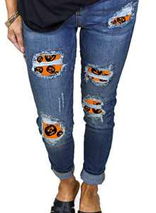 CORAFRITZ Women's Casual Patch Destroyed Skinny Stretch Ripped Denim Pants Long Pencil Jeans