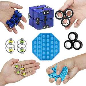 Comgoo Push Bubble Fidget Sensory Toy, Autism Special ADHD Fidget Toy, Needs Silicone Stress Relief Toys Anti-Anxiety Tools for Kids Adults Novelty Gifts (5-Pcs)