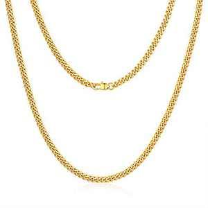 Jewlpire Diamond Cut Miami Cuban Link Chain for Men, Gold Chain for Men, Chain Necklace for Men Boys Women, Hip-Hop & Cool Men's Necklace, 18K Gold Plated, 4mm Width, 20 Inch