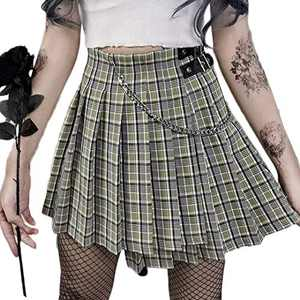 Ruolai Gothic Black Pleated Mini Skirt with Chain High Waist Pocket Punk Skirt Cool Skirt Green M