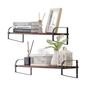 YIWANFW Rustic Floating Shelves Wall Mounted, Industrial Wall Shelves for Pantry Living Room Bedroom Kitchen Bookshelf (23.57.8513)