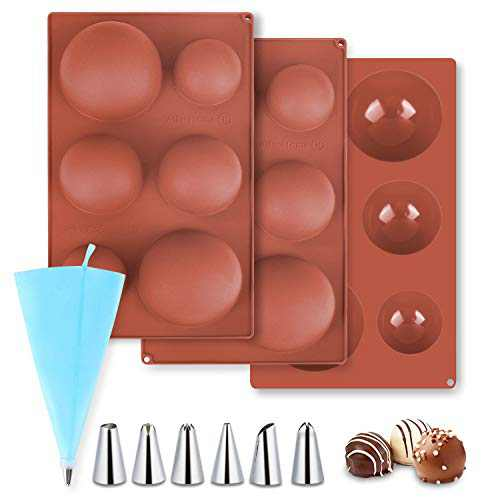 Large Semi Sphere Silicone Mold with Silicone Piping Bags, Upgrade 6 Holes Chocolate Mold, 3 Sizes Baking Mold for Making Chocolate Bomb, Cake, Jelly, Pudding, Soap (3 Pack)