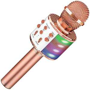 Bluetooth Wireless Karaoke Microphone with LED Light, 4 in 1 Portable Handheld Microphone, Suitable for Family KTV Party, Compatible with Android and iOS, Suitable for Children and Adults(Rose Gold)