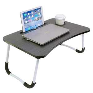 Lap Desk,Foldable Laptop Bed Tray Table,Adjustable Laptop Stand for Bed with Non-Slip Legs Lap Table Slot and Cup Holder for Eating,Working,Reading,Studying on Bed or Sofa,Balck Stripe by Queeplo