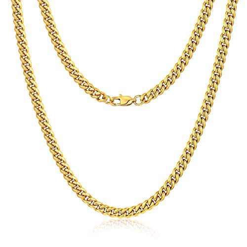 Jewlpire Diamond Cut Miami Cuban Link Chain for Men, Gold Chain for Men, Chain Necklace for Men Boys Women, Hip-Hop & Cool Men's Necklace, 18K Gold Plated, 6mm Width, 18 Inch