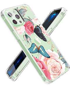 Rose Lake Clear Floral Case Compatible with iPhone 12 and iPhone 12 Pro 6.1 Inch, Flexible TPU Shockproof Cover Women Girls Flower Pattern Phone Case (Rose/Pink)