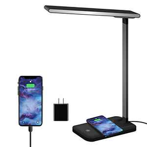 LED Desk Lamp with Wireless Charger, Eye-Comfort Desk Light with USB Charging Port. Foldable Lamp with 3 Color Modes, Custom Dimmable,Touch Control. Table Lamp for Reading, Studying