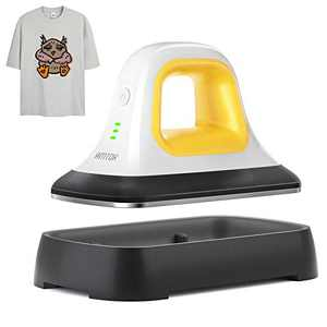 """AMTOK Heat Press - 7"""" x 3.8"""" Heat Press Machines for T Shirts Shoes Bags Hats and Small HTV Vinyl Projects & Portable Mini Easy Iron Press Machine for Heating Transfer (Yellow)"""