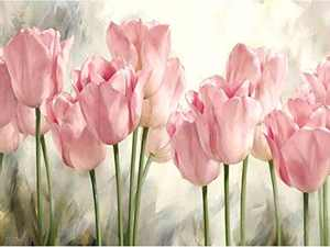 Flower Diamond Painting Kits for Adults, 5D Crystal Diamonds Art with Accessories Tools, Pink Tulips DIY Art Dotz Craft for Home Décor, Ideal Gift or Self Painting