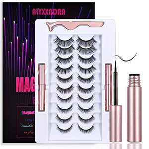 Magnetic Eyelashes With Eyeliner Kit,10 Pairs Eyelashes Magnetic 2021 Upgraded 3D Fluffy Natural Waterproof Reusable Fox Eyes Kit False Eyelashes And Eyeliner.