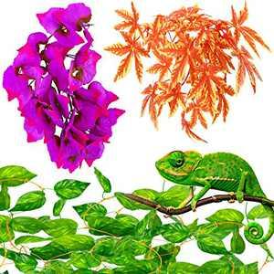 Chuangdi 3 Pieces Reptile Plants Set Include Artificial Hanging Silk Terrarium Plant Artificial Money Plant Hanging Vines with 2 Suction Cups for Reptile Amphibian Terrarium Tank Plant Decoration