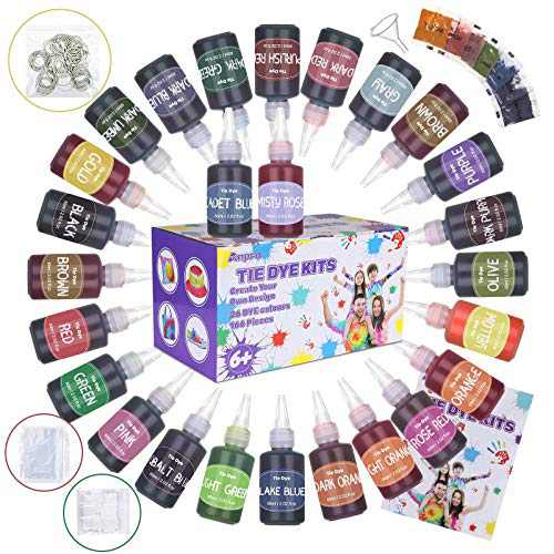 Tie Dye Kit 26 Colors - Anpro DIY Fabric Dye Kits with 7 Extra Dye Powders 166 Sets All in One Non-Toxic Textile T-Shirts Paint Tie-dye Set, DIY Party Art Craft Supplies for Kids and Adults