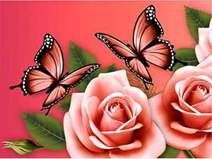Beautiful Diamond Painting Kits for Adults, 5D Crystal Diamonds Art with Accessories Tools, Butterfly Flower DIY Art Dotz Craft for Home Décor, Ideal Gift or Self Painting