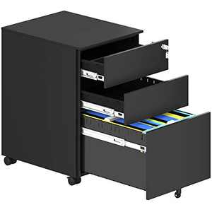 YITAHOME Metal Filing Cabinet Office Drawers with Keys and Wheels, 3-Drawer Portable File Cabinet, Pre-Built Office Storage Cabinet for A4/Letter/Legal (Black) (Black)