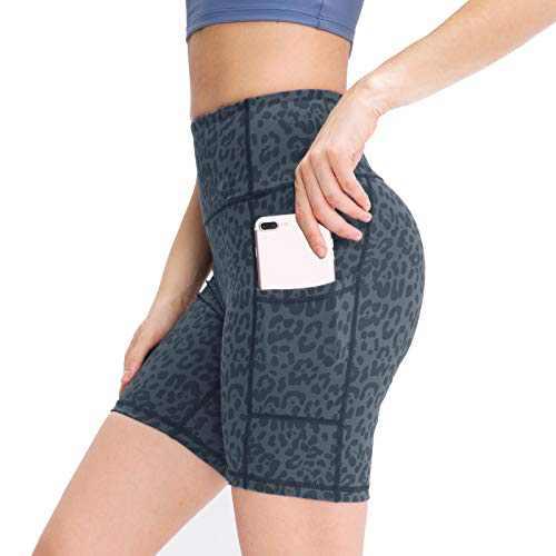 MAGICSHE Shorts for Women, High Waist Elastics Workout Biker Athletic Shorts for Women (Grey, XL)