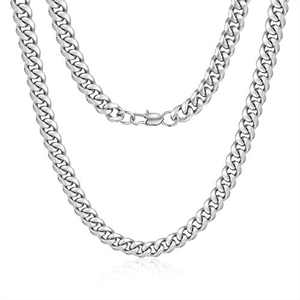 Jewlpire Diamond Cut Miami Cuban Link Chain for Men, Silver Chain for Men, Chain Necklace for Men Boys Women, Hip-Hop & Cool Men's Necklace, 316L Stainless Steel, 10mm Width, 30 Inch