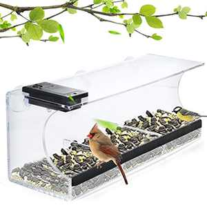 Solar Window Bird Feeder for Outdoor Use with Super Strong Suction Cups, Never Falling Off, Wild Bird feeders for Outside, Large Hanging Birdhouse
