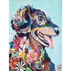 BFLC Crystal 5D Diamond Painting Kit of A Colorful Puppy, DIY Handcraft Art Longitudinal Accessories for Home Decoration