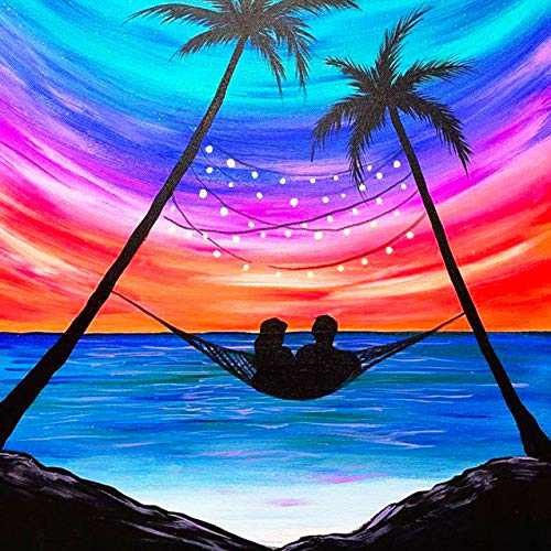5D DIY Diamond Painting Kits for Adults, Full Drill Crystal Diamond Art Kits by Number Kits,Diamond Dotz kit for Home Wall Decor Beach Couple Palm Tree,10 x 10 inch