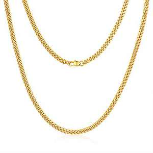Jewlpire Diamond Cut Miami Cuban Link Chain for Men, Gold Chain for Men, Chain Necklace for Men Boys Women, Hip-Hop & Cool Men's Necklace, 18K Gold Plated, 4mm Width, 18 Inch