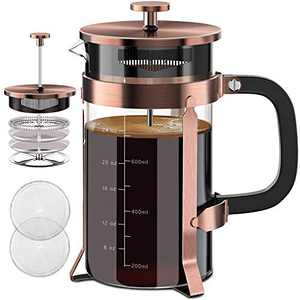 Upgraded French Press Coffee Maker 34oz 304 Stainless Steel French Press with 4 Filter Screens Heat Resistant Durable Easy Clean Borosilicate Glass Cold Brew Coffee Maker 100% BPA Free Glass Teapot