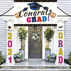Graduation Decorations Banners - Class of 2021 & Congrats Graduation Hanging Banners Signs Outdoor Home Door Porch Décor, Great Fabric Porch Sign,Includes 2 Hanging Banners & a Large Banner…