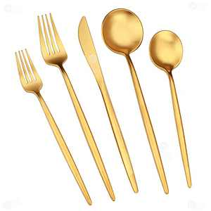 DAOQI Luxury Matte Gold Silverware Set, 20 Piece Stainless Steel Flatware Sets for 4, Gold Utensils Set, Gold Spoons and Forks Set, Tableware Cutlery Set for Home and Restaurant, Dishwasher Safe