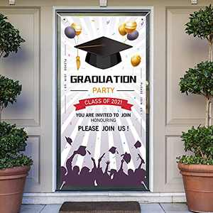 Crenics Graduations Banner Decorations 2021, Large Fabric Graduation Sign Door Cover Banner, Graduation Backdrop Banner for Front Door Wall Grad Party Decoration(Purple & White)