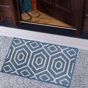 ZVV Indoor Doormat, Absorbent Front Door Mat 20 x 32 inches, Low-Key Interior Floor Mat Entrance Door Carpet with Rubber Backing, Non-Slip, Mud Mousetrap, Machine Washable (Blue, A)